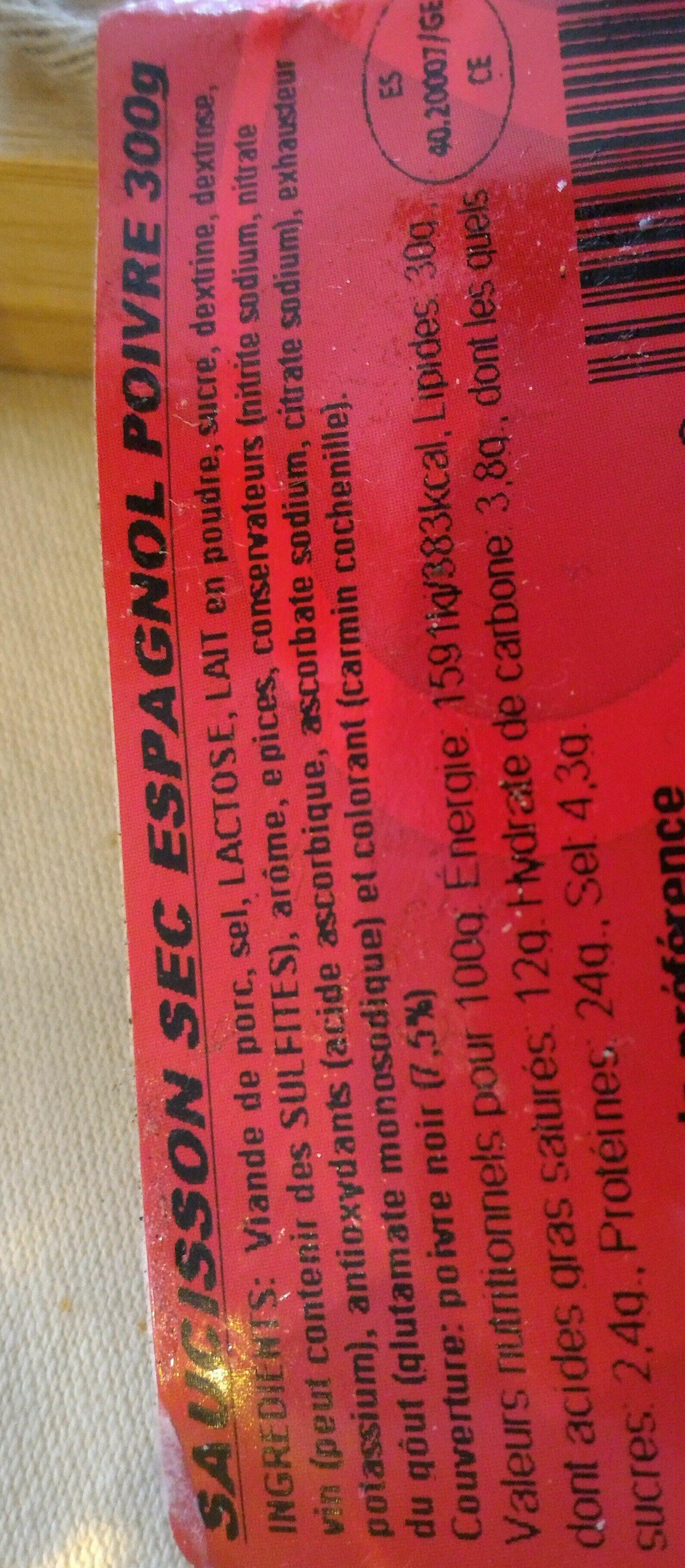 Saucisson à l'ancienne au poivre Monte Ibérico - Ingredients - fr