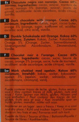 dark chocolate 60% with Orange - Ingredientes - fr