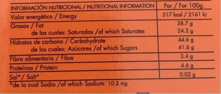 dark chocolate 60% with Orange - Información nutricional - fr