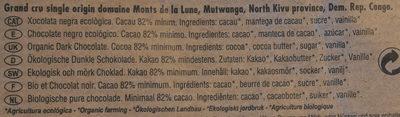 Chocolate negro ecológico 82 % Congo - Ingredientes