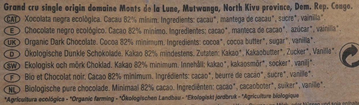 Chocolate negro ecológico 82 % Congo - Ingredients - es