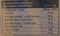 Chocolate negro ecológico 82 % Congo - Informació nutricional - es