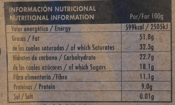Chocolate negro ecológico 82 % Congo - Información nutricional