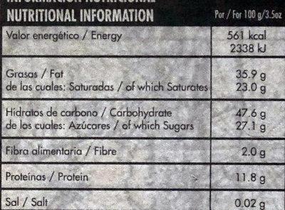Organic dark chocolate República Dominicana - Información nutricional