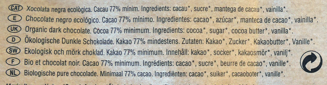 Chocolate negro ecológico Peru 77 % - Ingredientes - es