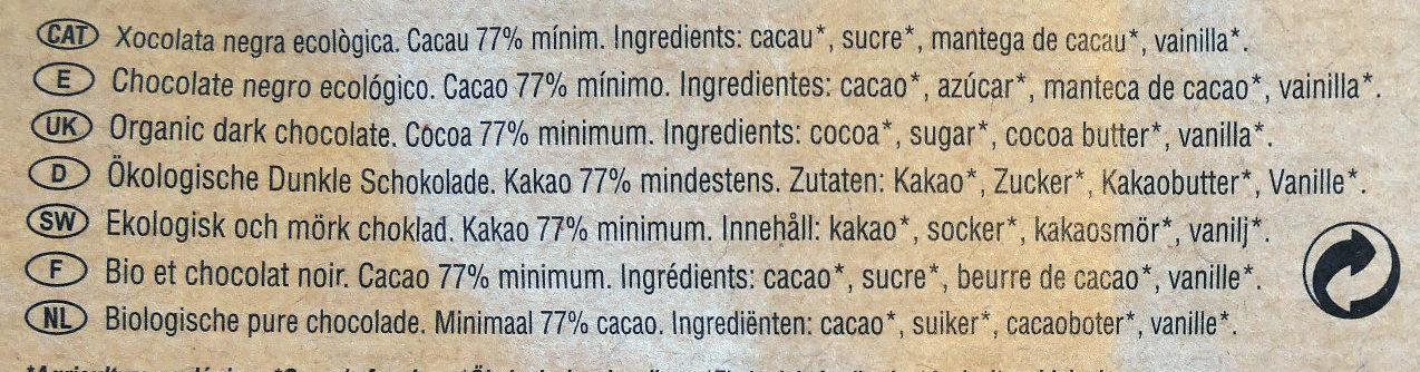 Chocolate negro ecológico Peru 77 % - Ingredients - es