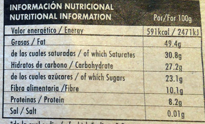 Chocolate negro ecológico Peru 77 % - Informació nutricional - es