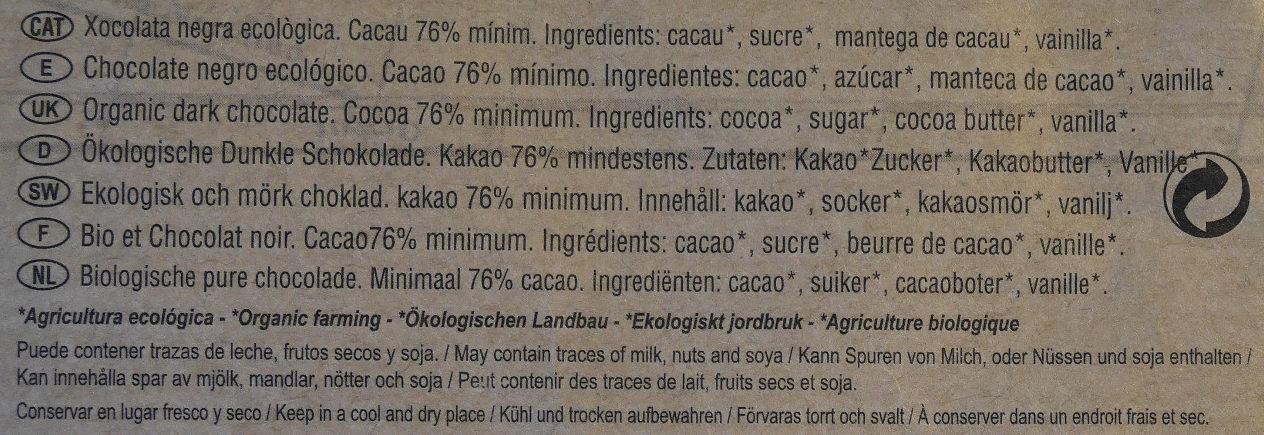 Chocolate negro ecológico 76 % Brasil - Ingredientes - es