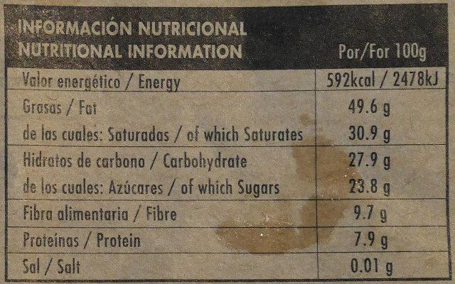 Chocolate negro ecológico 76 % Brasil - Información nutricional - es