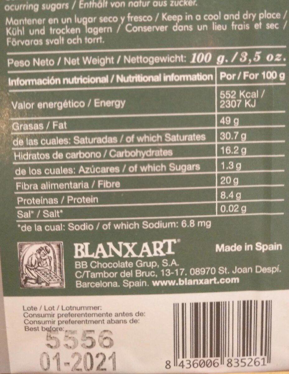 Chocolate 85% estevia - Voedingswaarden