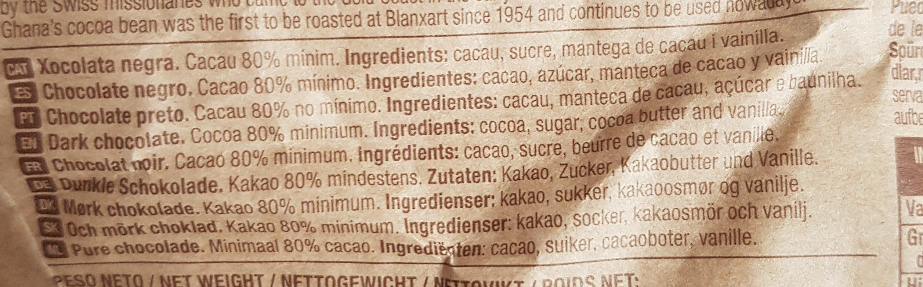 Chocolat - Ingredientes