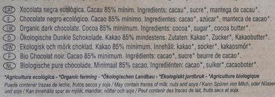 Chocolate negro ecológico 85 % Nicaragua - Ingredientes - es