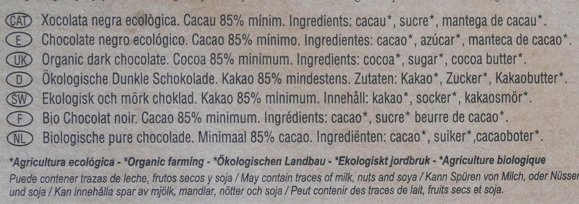 Chocolate negro ecológico 85 % Nicaragua - Ingredients