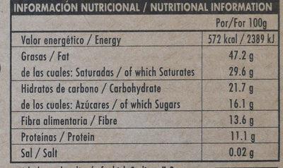 Chocolate negro ecológico 85 % Nicaragua - Información nutricional