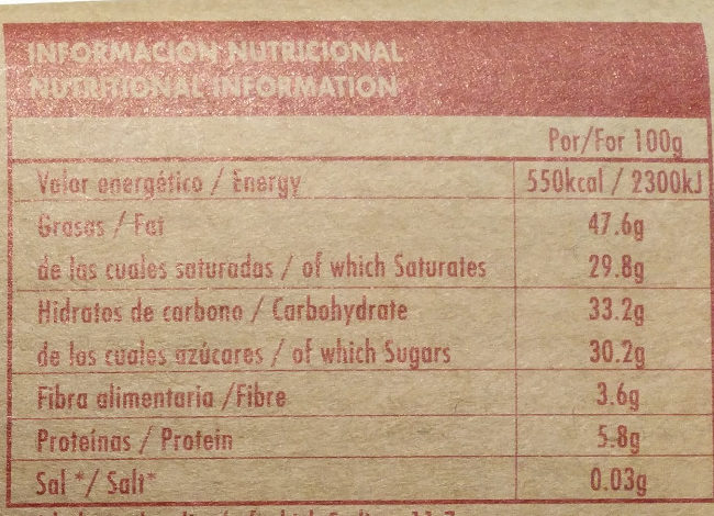 Dark chocolate 72 % Ghana - Información nutricional