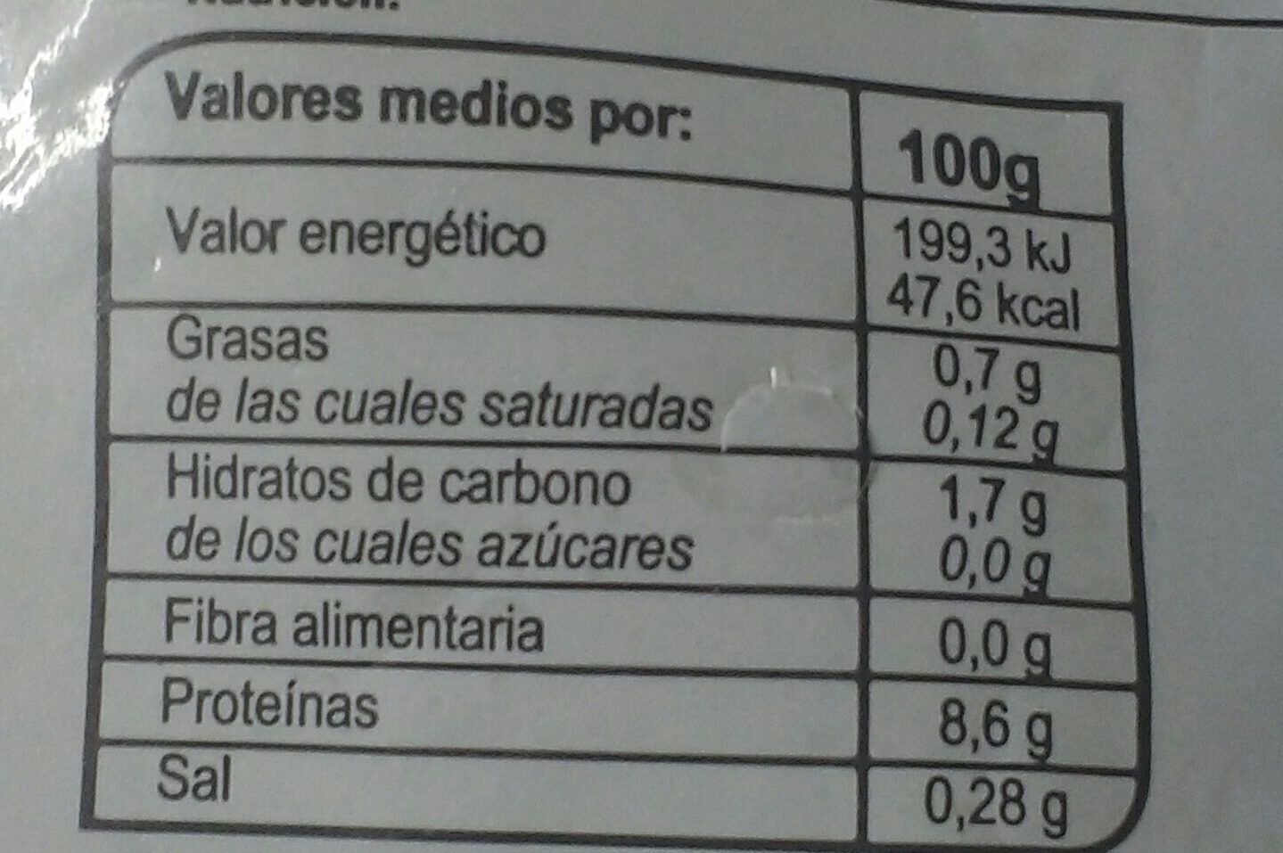 Tiras de potas crudas ultracongeladas - Información nutricional