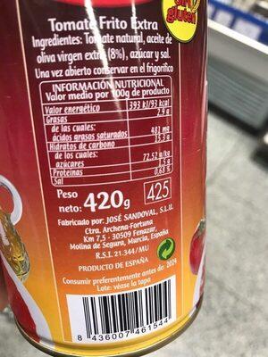 Tomate frito con aceite de oliva - Nutrition facts - es