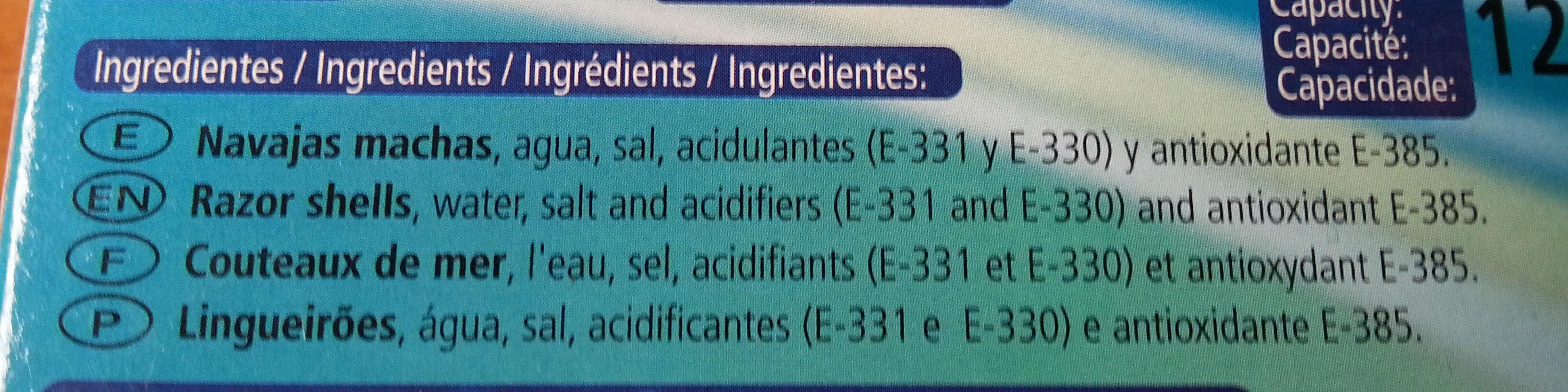 Navajas al natural - Ingrediënten