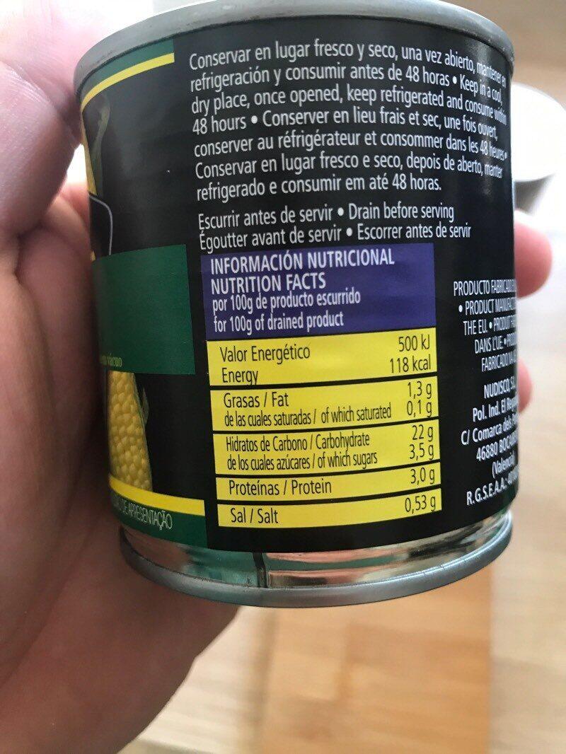 Maíz dulce - Información nutricional