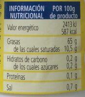 Mayonesa - Informació nutricional - en