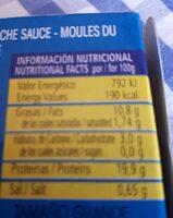 Mejillones del Pacifico en escabeche - Información nutricional