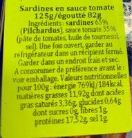 Sardines tomate - Voedingswaarden - fr