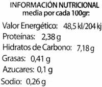 Brócoli en conserva - Información nutricional