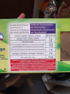 Piña en su jugo - Informations nutritionnelles