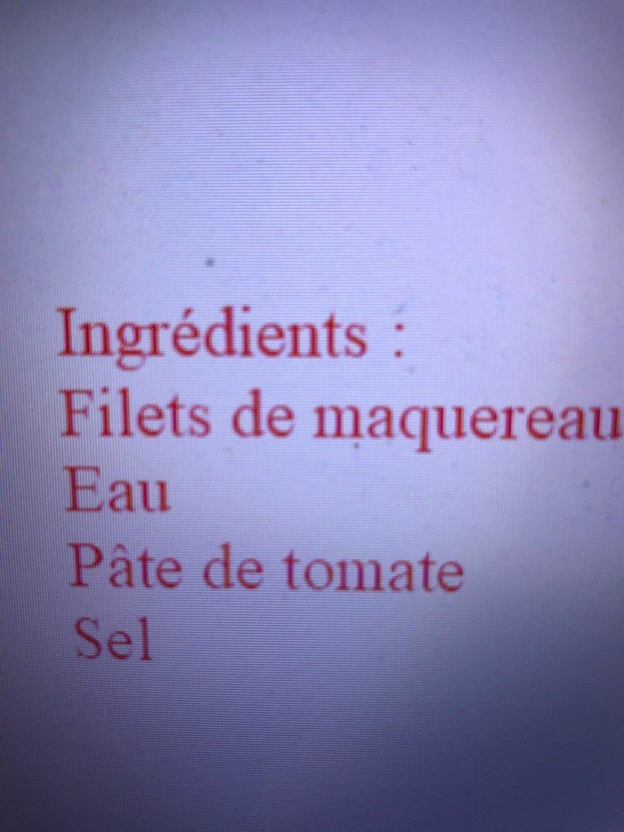 MAQUEREAU A LA TOMATE - Ingrediënten - fr