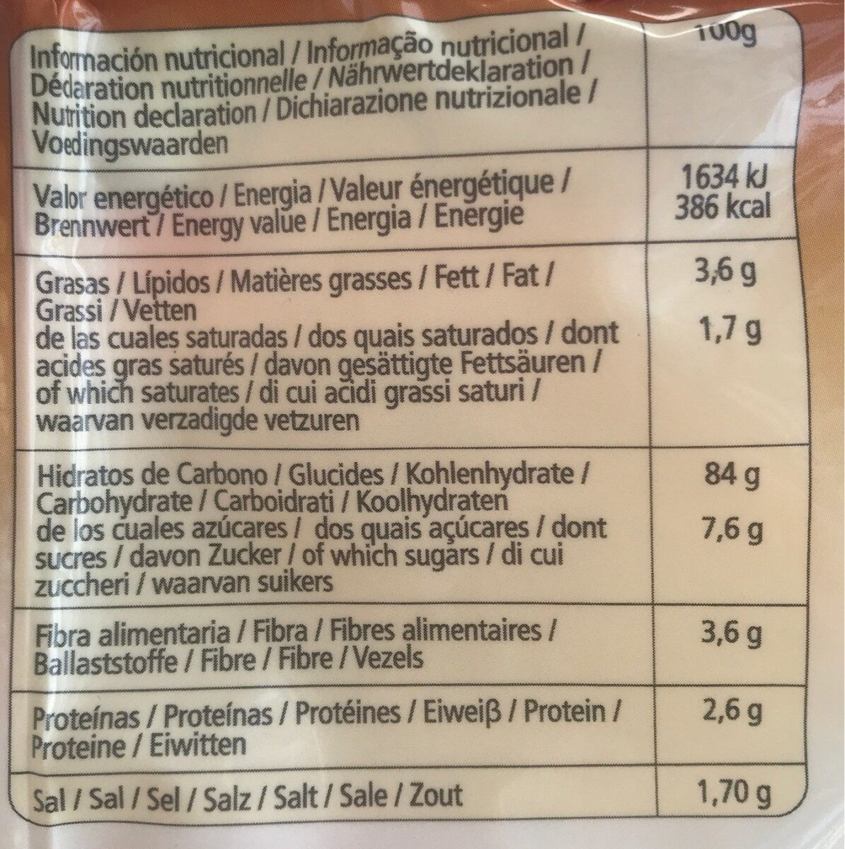 Pan Rallado - Nutrition facts