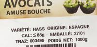 Avocats bio Pre-muri - Ingrédients - fr