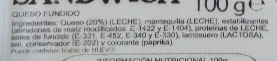Queso lonchas - Ingrediënten - es