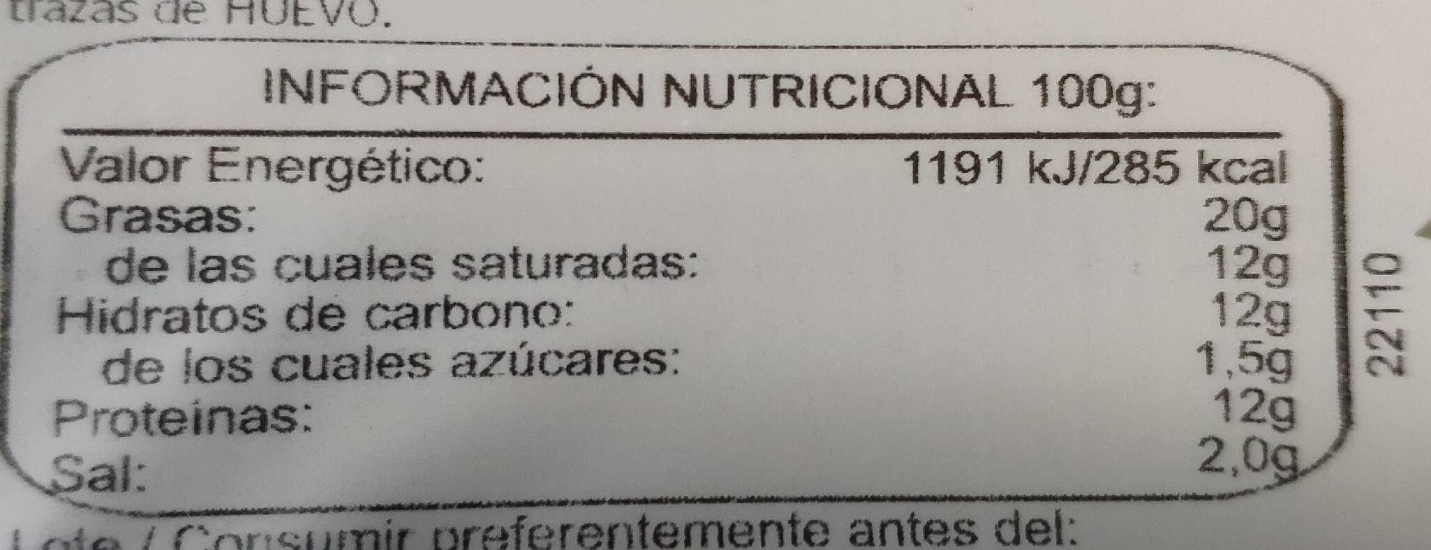 Queso lonchas - Voedingswaarden - es