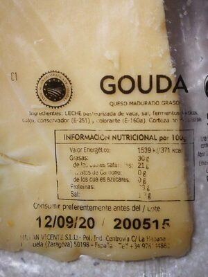 Gouda - Información nutricional - es