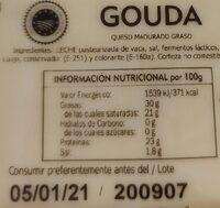 Gouda - Informació nutricional - es