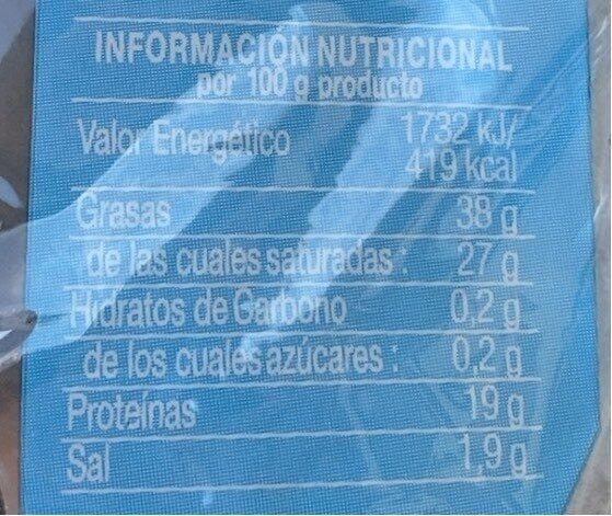 Queso havarti natural lonchas - Informació nutricional - es