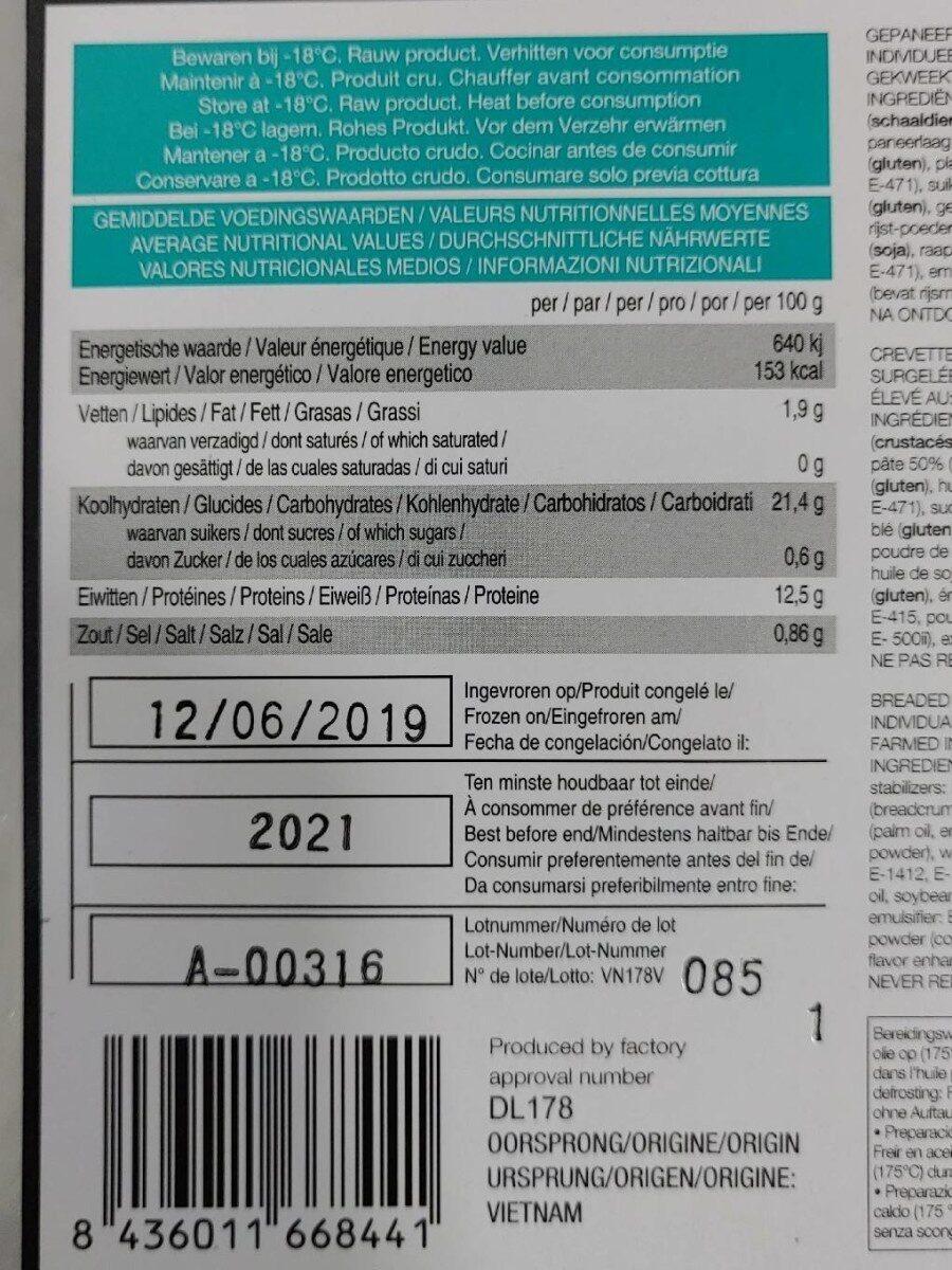 Torpedo Shrimps - Información nutricional