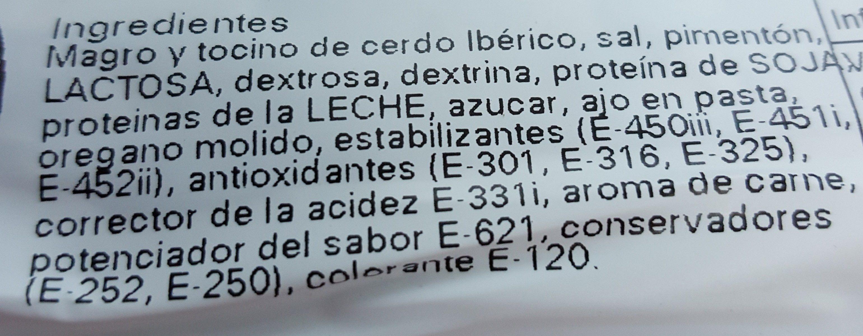 Chorizo iberico - Ingrédients - fr