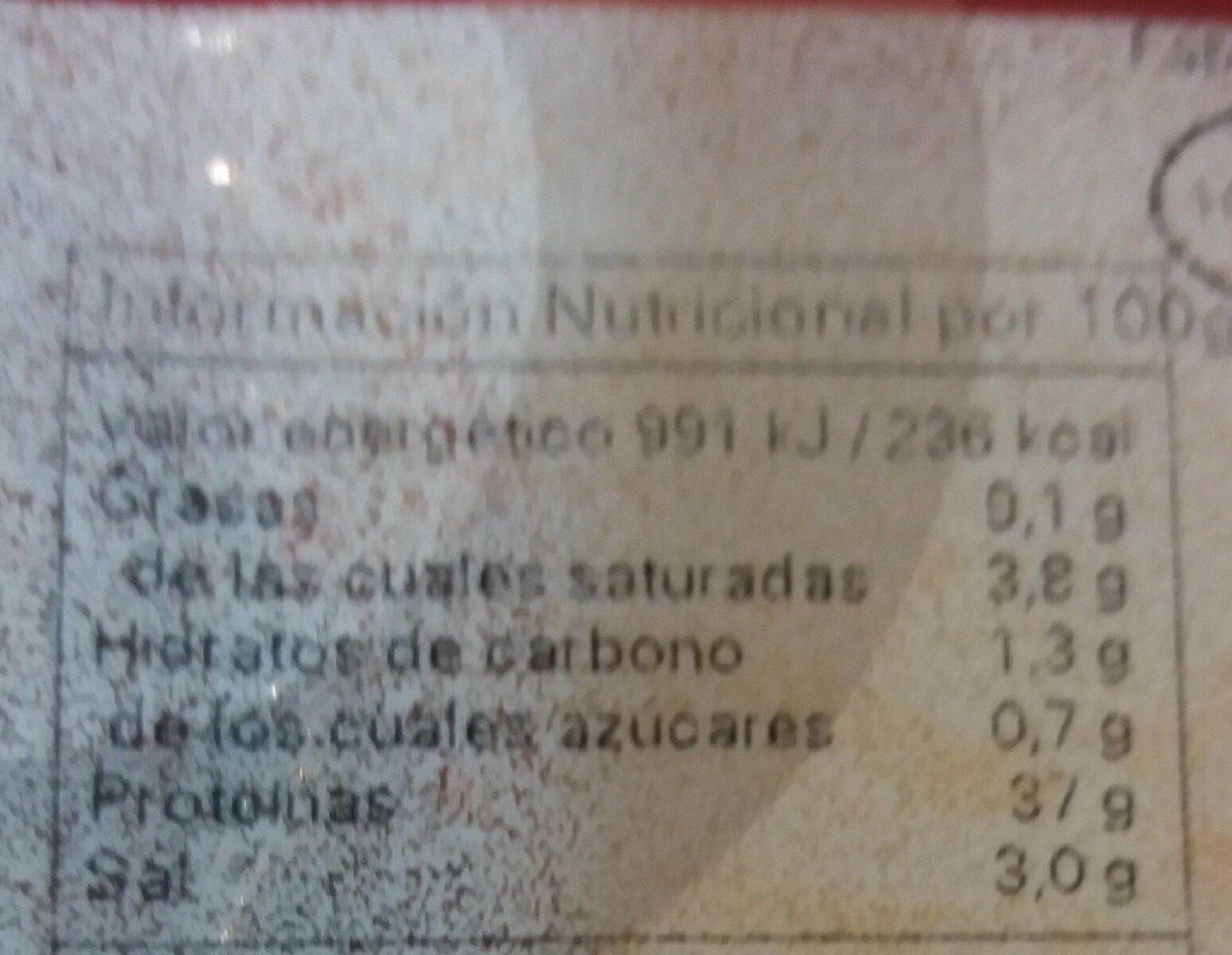 Lomo embuchado - Voedingswaarden - es