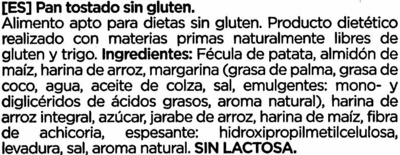 Pan tostado sin gluten - Ingredients - es