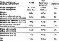 Pan tostado sin gluten - Información nutricional - es