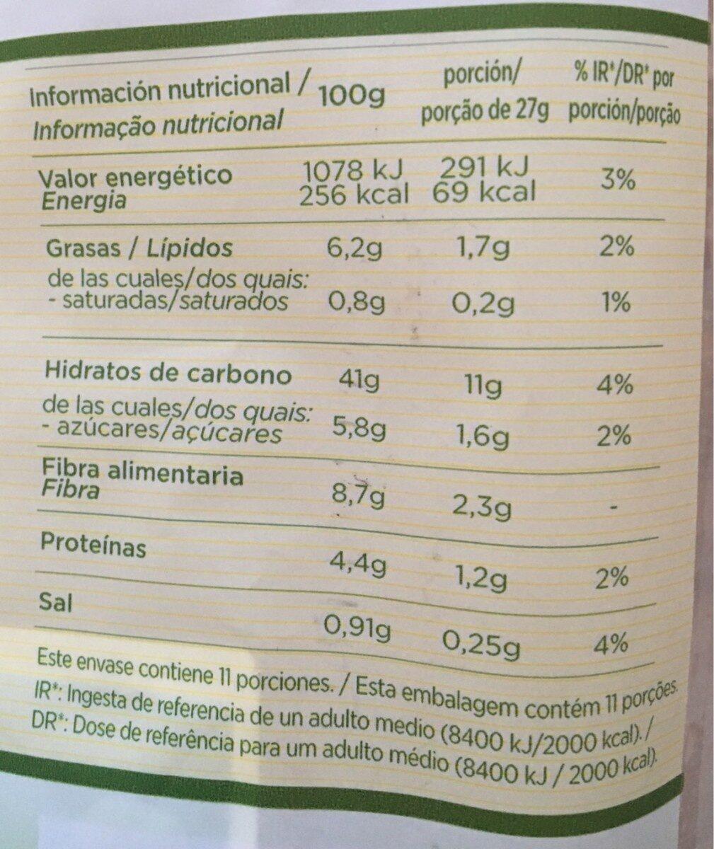 Pan multicereales - Información nutricional