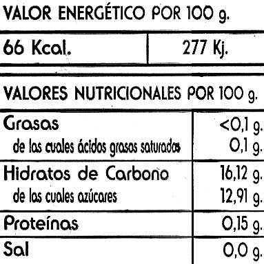 Fresa en almibar ligero - Informació nutricional - es