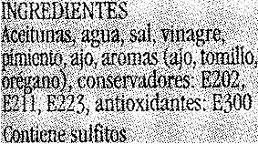 Aceitunas Verdes Partidas Aliñadas - Ingredientes