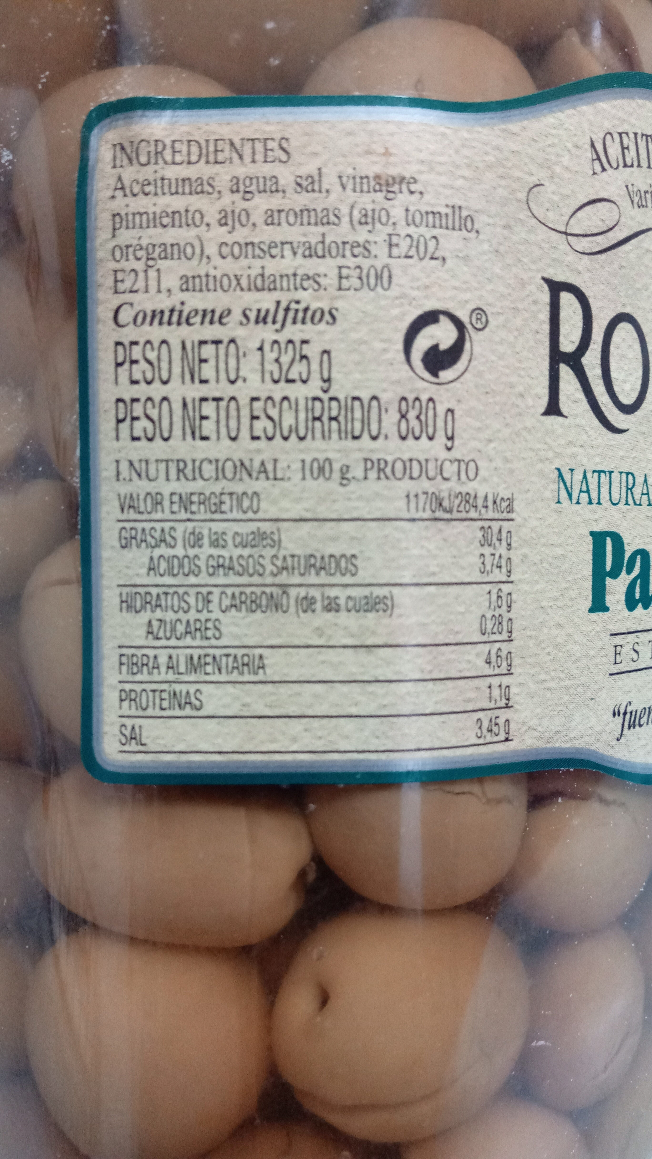 Aceituna verde natural malagueña partida - Informació nutricional - es