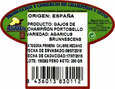 Champiñón Porrobello - Ingrédients - es