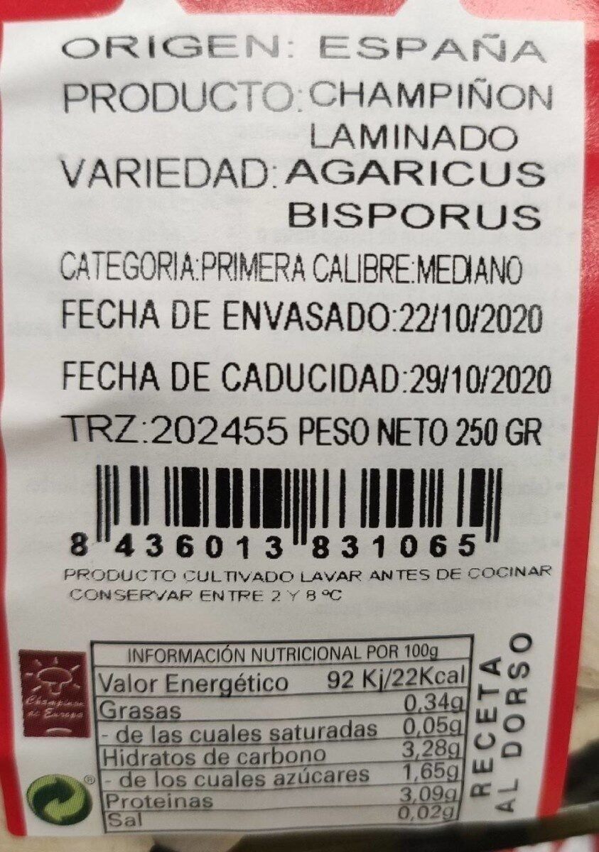 Champiñón laminado - Informations nutritionnelles - es