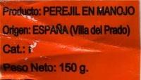 Perejil fresco - Ingredientes - es