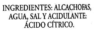 Alcachofas enteras en conserva 10/12 frutos - Ingredientes