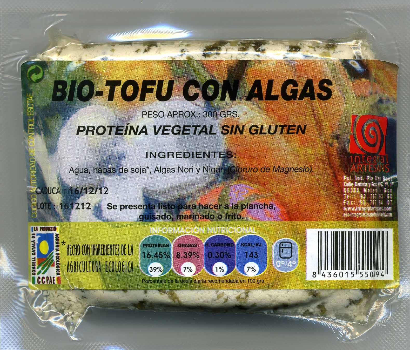 "Tofu ecológico ""Integral Artesans"" con algas - Produit"